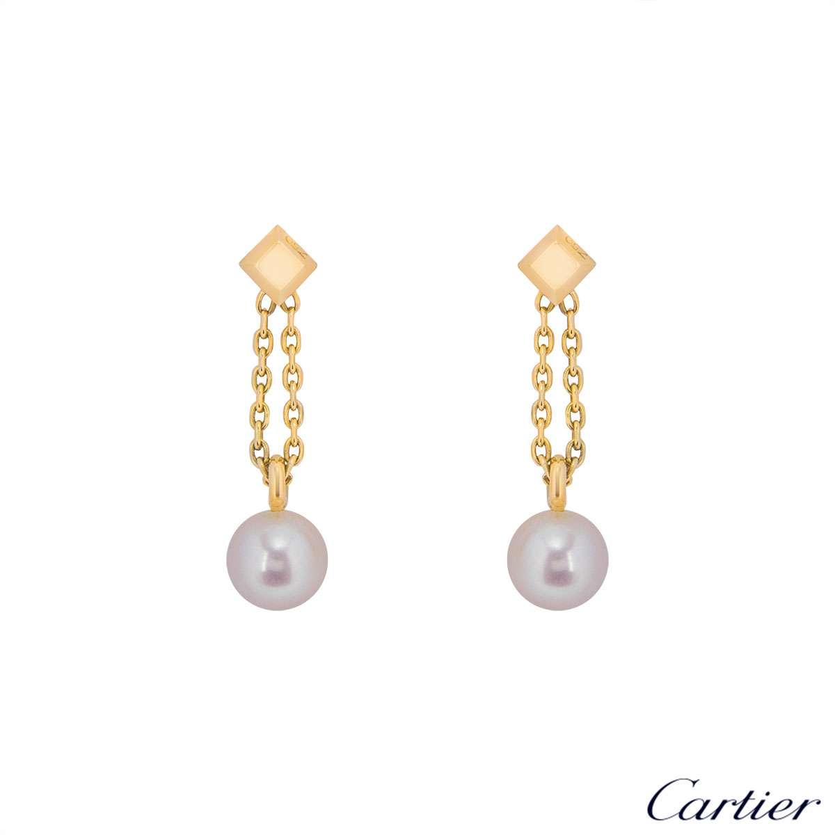 Cartier 18k Yellow Gold Pearl Drop Earrings